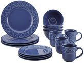 Paula Deen Savannah Trellis Stoneware Dinnerware Set, 16pc - Cornflower Blue