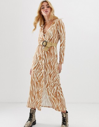 Asos DESIGN long sleeve button through belted maxi dress with belt in zebra print