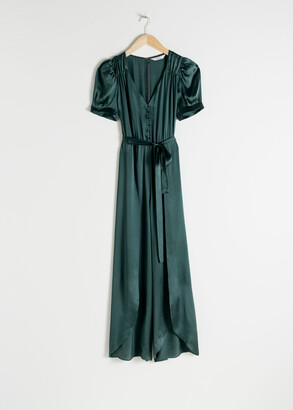And other stories Puff Sleeve Silk Jumpsuit