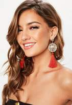 Missguided Red Tassel Earrings