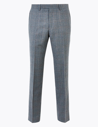 Marks and Spencer Grey Checked Tailored Fit Wool Trousers