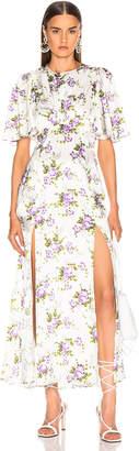 Les Rêveries Petal Sleeve Slit Front Dress in Purple Rose Garden | FWRD