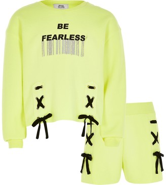 River Island Girls yellow 'Fearless' sweatshirt outfit