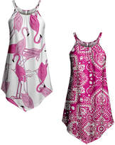 Lily Women's Tunics WHT - White Flamingo & Pink Paisley Sleeveless Pointed-Hem Tunic Set - Women & Plus