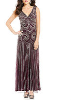Pisarro Nights V-Neck Sleeveless Beaded A-Line Dress