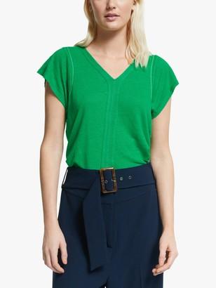 Yerse Linen Short Sleeve V-Neck Top