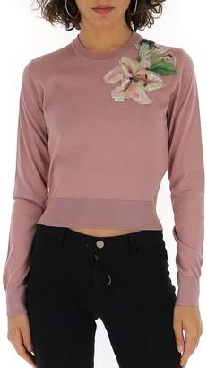Dolce & Gabbana Flower Applique Knitted Sweatshirt