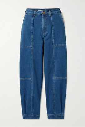 See by Chloe Cropped Paneled High-rise Jeans - Mid denim