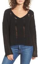 Moon River Women's Net Detail Sweater