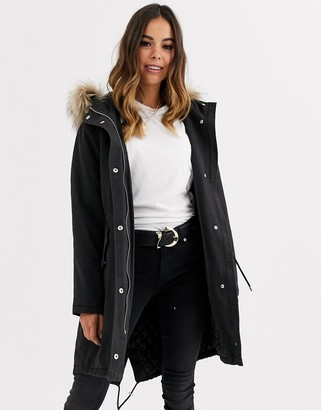 New Look cotton parka jacket in black