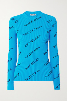 Balenciaga Printed Ribbed-knit Top