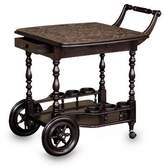 Rolling Tooled Leather and Wood Bar Cart , 'A Movable Drink'