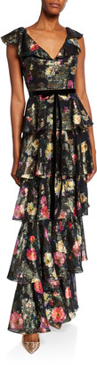 Marchesa Notte Metallic Printed V-Neck Sleeveless Tiered Fil Coupe Ruffle Gown