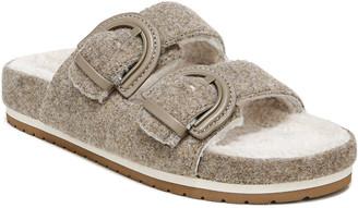 Vince Glyn Wool Shearling Double Buckle Slide Sandals