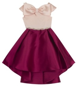 Rare Editions Little Girl Mikado Hi Low Dress With Bow Detail