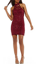 Xtraordinary Mock Neck Sequin-Lace Sheath Dress