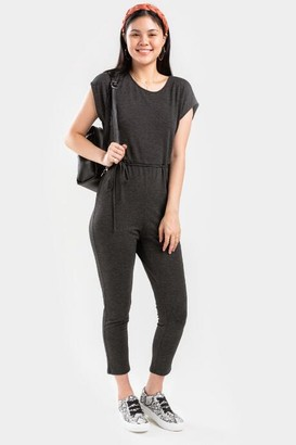 francesca's Maeve French Terry Knit Jumpsuit - Charcoal