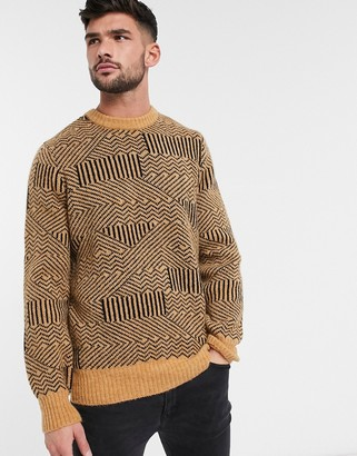 New Look techno pattern jumper in rust-Tan