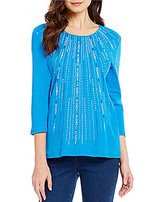 Allison Daley Embellished 3/4 Sleeve Crew Neck Knit Top