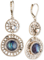 lonna & lilly Gold-Tone Iridescent Stone and Pavé Double Drop Earrings