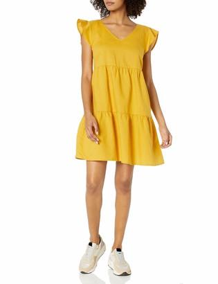 Goodthreads Amazon Brand Women's Washed Linen Blend Flutter Sleeve Peasant Dress