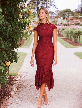 Forever New Frankie Lace Maxi Dress - Berry - 4