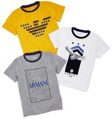 Armani Junior Boys' Logo Graphic Tees, 3 Pack - Little Kid