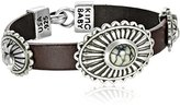 King Baby Studio Burgundy Leather Bracelet with Turquoise Crowned Heart Conchos Wrap Bracelet
