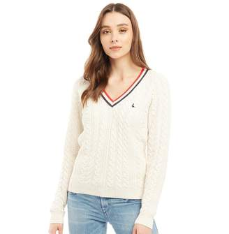 Jack Wills Womens Pluckley V-Neck Chunky Cable Crew Jumper Vintage White