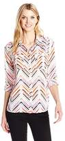 Notations Women's 3/4 Roll Tab Printed Y Neck Utility Blouse