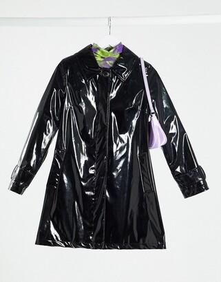 Helene Berman vinyl swing mac jacket in black