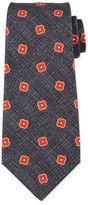 Kiton Spaced Floral-Medallion Print Silk Tie
