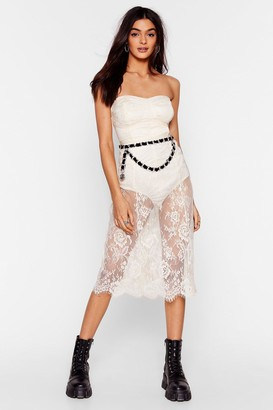 Nasty Gal Womens Lace Celebrate Bandeau Midi Dress - Cream