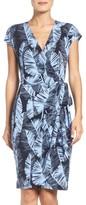 Maggy London Petite Women's Palm Leaf Wrap Dress