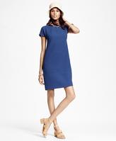 Brooks Brothers Short-Sleeve Wool Crepe Shift Dress