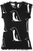 Thom Browne Penguin Intarsia Shell Top With Frayed Edges In Black Cashmere
