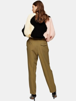 Topshop Lima Belted Trousers - Khaki