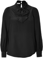 Silk Bow Neck Blouse in Black