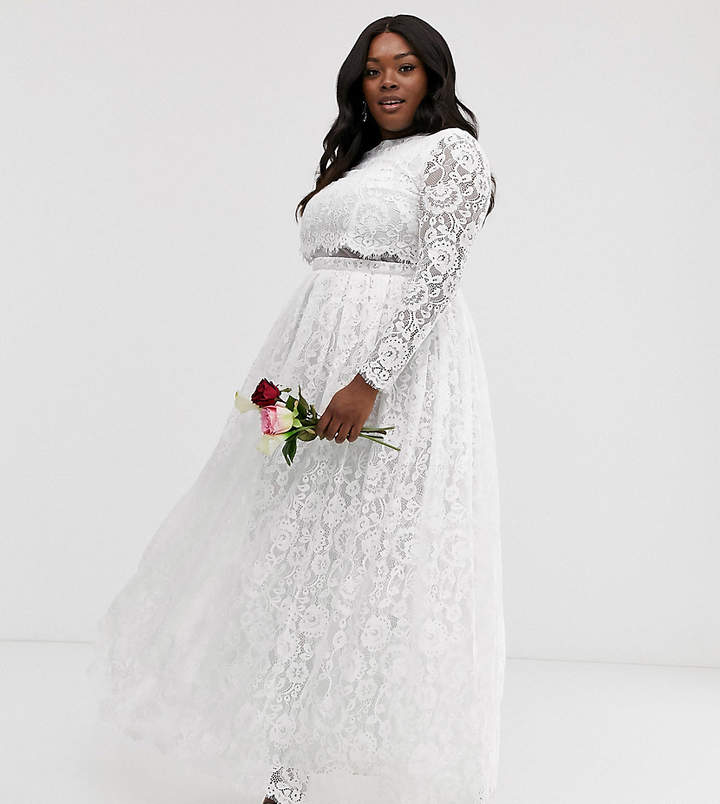 f0f4205c2e1 Edition EDITION Curve lace long sleeve crop top maxi wedding dress