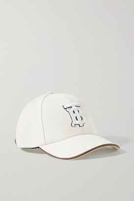 Burberry Leather-trimmed Embroidered Cotton And Linen-blend Canvas Baseball Cap - Cream