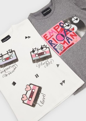 Emporio Armani Pack Of Two T-Shirts With Music Print