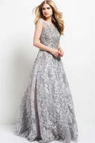 Jovani 47762 Embroidered Floral Cap Sleeves Gown