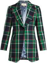 Gucci Checked tiger-appliqué wool jacket