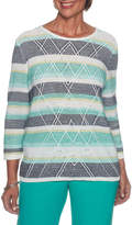 Alfred Dunner Montego Bay Long Sleeve Crew Neck Layered Sweaters