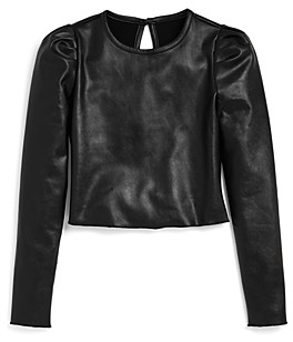 Aqua Girls' Faux Leather Puff Sleeve Top, Big Kid - 100% Exclusive