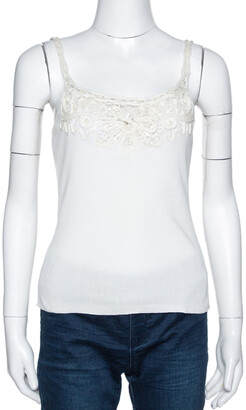 Valentino Off White Cotton Sequined Lace Trim Tank Top M