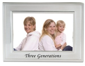 """Lawrence Frames Brushed Metal Three Generations Picture Frame - Sentiments Collection - 4"""" x 6"""""""