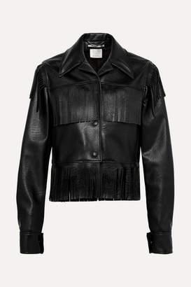 Stella McCartney Fringed Faux Textured-leather Jacket - Black