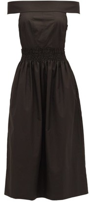Three Graces London Porcia Off-the-shoulder Cotton-poplin Dress - Black