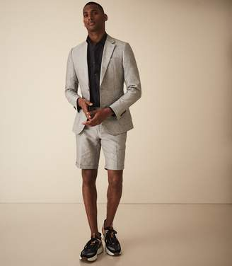 Reiss Time - Cotton Linen Blend Tailored Shorts in Light Grey